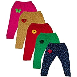 T2F Girls' Leggings (Pack Of 5) (T2FKLEGCN03_Multi_4-5 YRS) (T2FKLEGCN03)