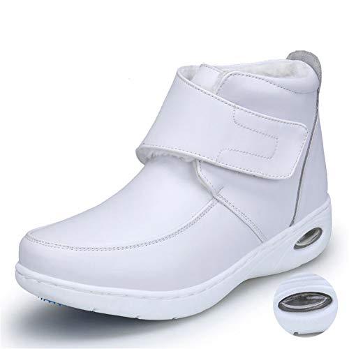 Frau Krankenschwester Rutschfeste Martin Stiefel Winter Slip-On Kuh Leder Plattform Luftkissen Schnalle Strap Casual Schuhe