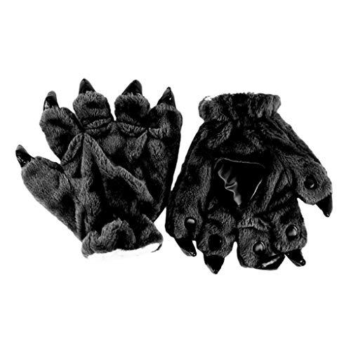 SEVENHOPE Tierpfote Klaue Plüsch Unisex Erwachsene Halloween Kostüm Cosplay Handschuhe Warme Handschuhe (Schwarz) (Familie 5 Von Halloween-kostüme)