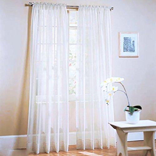 Topker Neue Einfarbige Voile Sheer Vorhang Panel Fenster Vorhänge 100 * 200 cm Weiß (Vorhänge-panels Weiße)