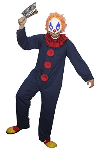 The Dragons Den Freaky die blau & rot Freak Clown Zirkus Halloween Fancy Dress Kostüm Gr. Small - Medium Brauch & Maske,