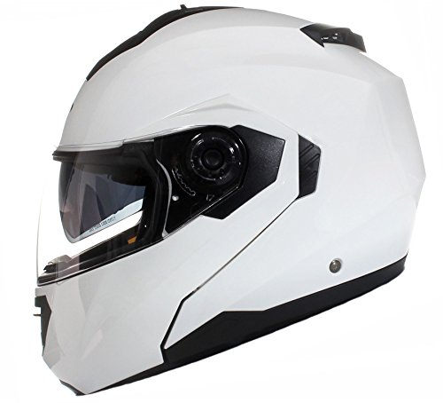 Qtech Klapp Motorradhelm mit DOPPELVISIER/Sonnenblende - Weiß - L (59-60cm)
