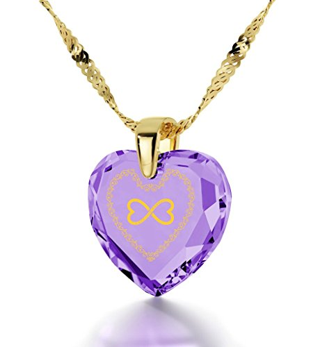 Bijoux Coeur - Pendentif Romantique Plaqué Or avec Love You Always et le symbole de l'infini inscrits à l'Or 24ct sur un Zircon Cubique, Chaine en Or Laminé de 45cm - Bijoux Nano Violet Clair
