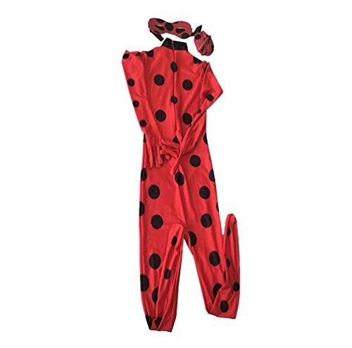 CHENGYANG Damen Kinder Zentai Spandex Lycra Anzug Ladybug Cosplay Bodysuit Karneval Kostüm Rot M (Kinder)