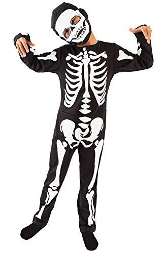(IKALI Kinder Skelett Kostüm, Jungen Halloween Overall unheimlich Bekleidung Langarm für Karneval Party)