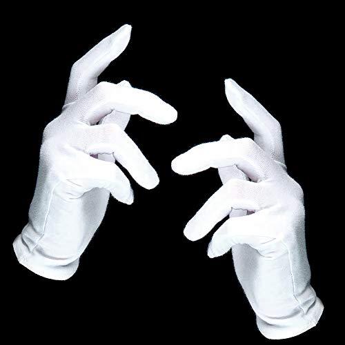 German Trendseller® - 12 x Weiße Handschuhe - Deluxe ┃ Pantomime ┃ Nikolaus - Weihnachtsmann - Zauberer ┃ 100% Polyester ┃ 12 Paar Handschuhe - Deluxe Zauberer Verkleiden Kostüm
