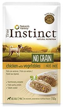 True Instinct No Grain Mini Adult Pack de 8 Pâtés Poulet aux Légumes pour Chien 150 g