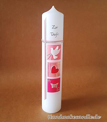Taufkerze für Mädchen, 300/60 mm, Zubehör zum selbstbeschriften dabei, Verpackungskarton kann für die Aufbewahrung der Kerze später benutzt werden. Handarbeit. - 2