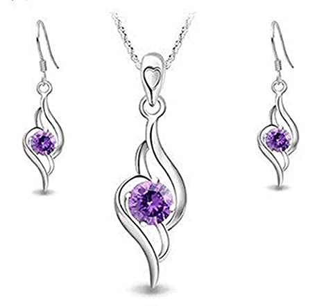 findout Damen Sterling Silber Amethyst Engel Tianyu Set Ohrring + Anhänger Halskette .für Frauen (Accent Diamante Bracciale)