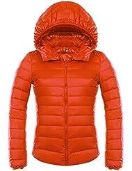 Highdas Mujeres Ultra Light Down Jacket Slim Thin Parka Coats bolsos Capucha