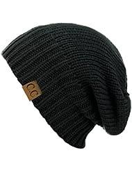 Bonnet chaud tricotté nervuré à revers ou slouch. Produit exclusif à NYfashion101.