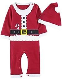 A&J Design Bebé Niño Navidad Romper Santa Mangas largas Conjunto