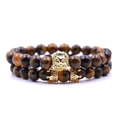 König Lion Armband Männer Charme Crown Paar Braclet 5 Arten Naturstein Perle Braceletsfor Mens Hand Schmuck Zubehör ()