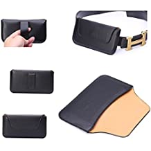 DFV mobile - Belt clip holster horizontal ultra thin synthetic leather premium for > hisense u966, color funda negro