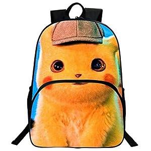 Mochila Pokemon para niños, Adolescentes, niñas, niños, Detective Pikachu Eevee, Mochilas de Ordenador portátil para Hombres, Mochilas de Viaje Grandes para Adultos 15 Talla única