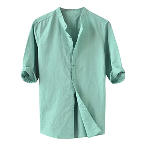 Sumeiwilly Herren Leinen Freizeithemd Kurzarm Männer Sommer 3/4 Ärme Hemd Reine Farbe Sommerhemd Casual Regular Fit Shirt (3/4 Sleeve V-neck Hemd)