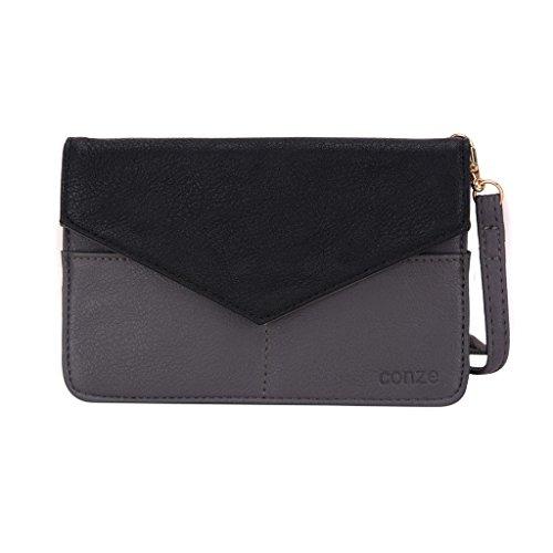 Conze da donna portafoglio tutto borsa con spallacci per Smart Phone per Acer Liquid E1/E2 Grigio grigio grigio