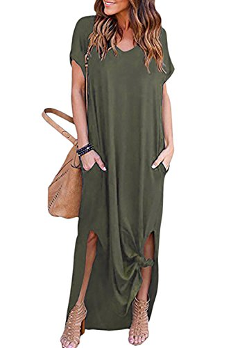 Vestidos Mujer Casual Bohemios Playa Largos Verano Vestido Boho Hendidura Falda Larga Maxi Vestido Playeros Verde L