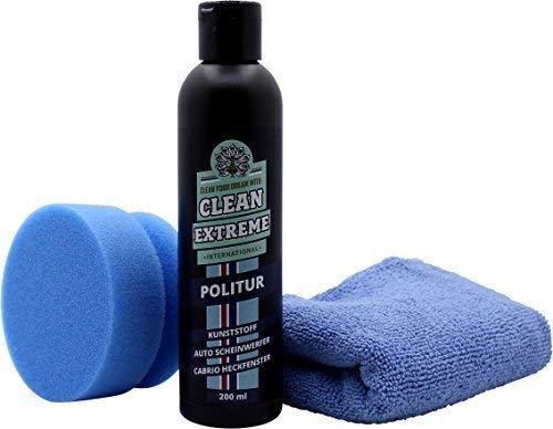 CLEANEXTREME Set Kunststoffpolitur - mit Politur, Hand-Polierpad + Poliertuch - zum Polieren von Kunststoff Scheinwerfer von Auto & Motorrad + Cabrioscheiben (Kunststoff Heckscheiben)