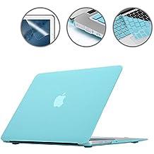 i-Buy Mate Caso de Shell duro + cubierta del teclado + Protector de pantalla + enchufe del polvo para Apple Macbook Air 13 pulgadas (Modelo A1369 A1466)- Ciano