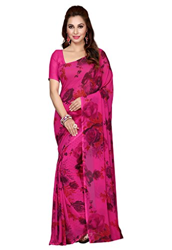 ISHIN Georgette Purple Printed Women's Saree  available at amazon for Rs.499