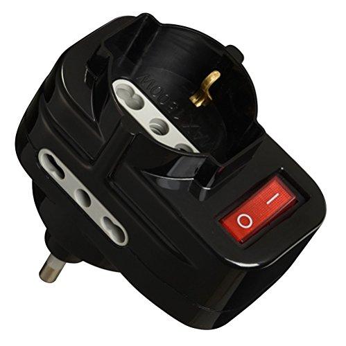 Electraline 70068 Adattatore con Interruttore, Spina Rotante, Nero