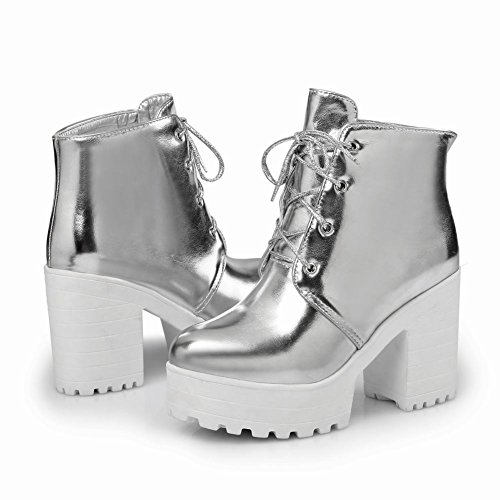 Mee Shoes Damen chunky heels runde Plateau Glattleder Ankle Boots Silber
