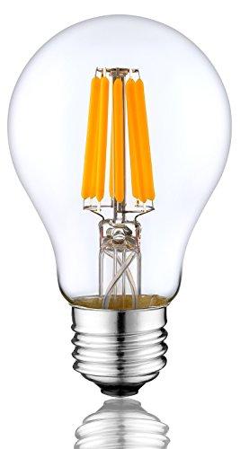 LED-Leuchtmittel Edison Vintage Style dimmbar A606W entspricht 60W E27Base Warm Weiß Glühbirnen 2700K lampe mit Color Cover Klar Deko Bestandteil E27 Base- 8W Clear Color Cover