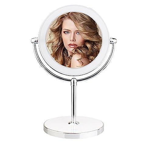 Leeron Kosmetikspiegel LED Beleuchtet mit 1X / 10X Vergrößerung, Doppelseitiger, Make-Up-Spiegel Schminkspiegel mit Beleuchtung für Make-up, (Doppelseitige Beleuchteter Make-up-spiegel)