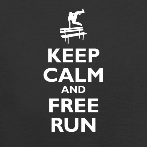 Keep Calm and Free Run - Herren T-Shirt - 13 Farben Schwarz
