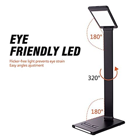 Desk Lamp LED 10W by BNZHome, 6 Brightness 5 Color Modes,Led Desk Light Eye-Care with USB Charging Port Touch Sensitive Control Folding Table Lamps Dimmable, Reading Lamps (Black)