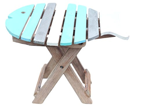 Distressed Finish (Wooden folding fish shaped table with distressed finish)