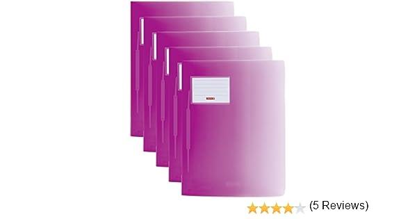 Pacco da 5 24x 34cm semi-trasparente Cartellina portadocumenti da PP Brunnen Cartellina trasparente fatto rosa acceso A4 con Colori Gradiente da Colore