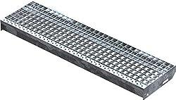 Fenau   Gitterrost-Stufe (R11) XSL - Maße: 1000 x 270 mm, MW: 30/30 mm, Vollbad-Feuerverzinkt, Stahl-Treppenstufe nach DIN-Norm, Fluchttreppen geeignet, Anti-Rutsch-Wirkung
