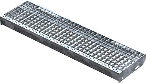 Fenau | Marche perforée Acier (R11) XSL - Dimensions : 1000 x 270 mm - Maillage: 30/30 mm, Galvanisation, conforme à la norme DIN, Adapté aux escaliers de secours