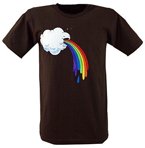 Guru-Shop Fun T Shirt `Wolke`, Herren, Baumwolle, Rundhals Kurzarm Shirt Alternative Bekleidung Braun