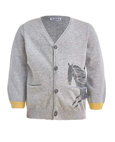 GULLIVER Baby Junge Strickjacke/Pullover/Cardigan | Farbe Grau | V- Ausschnitt | Langarm | Tiermotiv Bedrucken | für 9-24 Monate