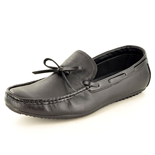Herren Casual Halbschuhe Mokassins Schlupfschuhe mit Spitzen-Detail Black PU (Leather Look)