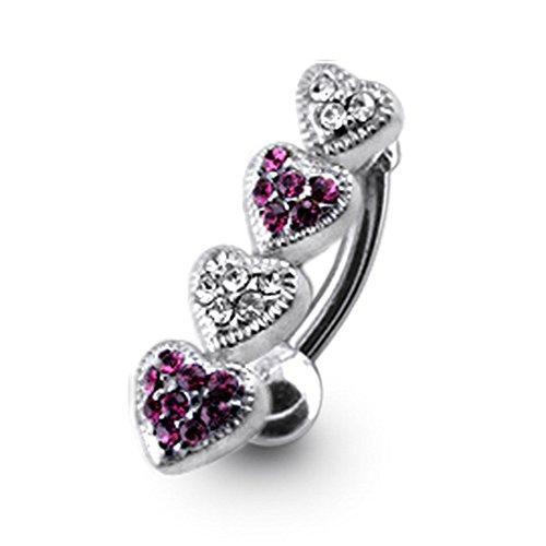 Bijou de corps anneau de nombril 4 cœurs à pierre Argent Sterling avec 14G-3/8 Inch (1.6x10MM) Banana Acier chirurgical 316L Purple