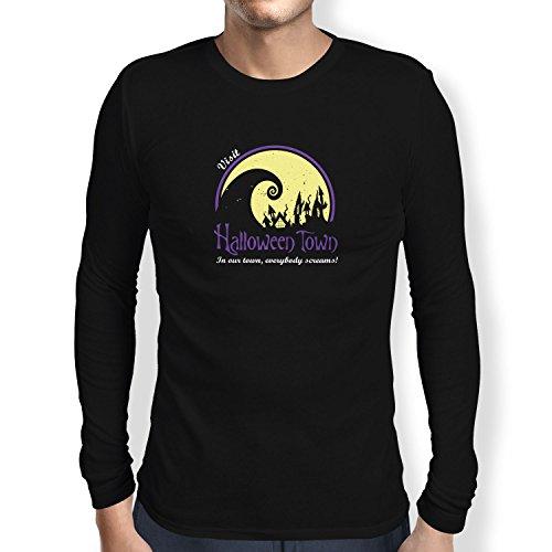 NERDO - Visit Halloween Town - Herren Langarm T-Shirt, Größe M, schwarz (Halloween Vhs 5)