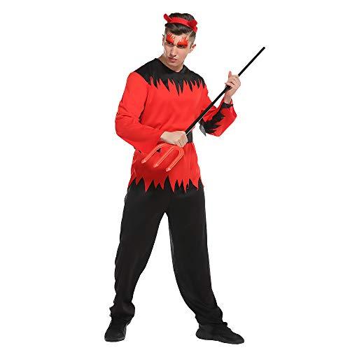 Zombie Kostüm Hose - BUY-TO Halloween-Zombie-Kostüm für Herren mit Oberteil und Hose,red,M(175-185cm)