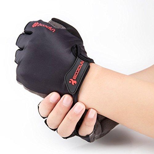 iCreat Damen / Herren Kurze Rennrad Handschuhe Power Fahrrad Active Gloves mit Geleinlage Schwarz, Größe XL - 3