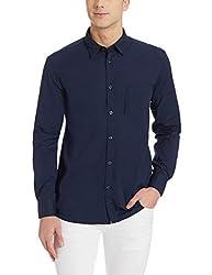 Parx Mens Casual Shirt (8907254451959_XMSS05295-B8_40_Dark Blue)
