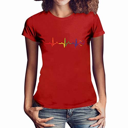 Damen T Shirt, CixNy Bluse Damen Kurzarm Sommer Mode Locker Ärmelloses Herz Drucken Lässig O Hals Oberteil Tops (M, Rot) -
