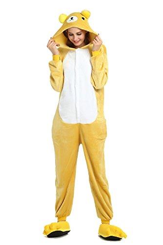 Flanelle Pyjama Combinaisons Animaux Femme Homme Grenouillère Kigurumi Adulte Pyjamas Costume Onesie (Ours jaune, Taille L 170cm- 178 cm (5'7'-5'10'))