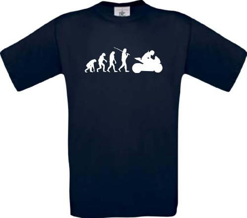 ShirtInStyle T-Shirt Evolution Motorrad Sport Fun spezial Edition, Farbe blau, Größe S (Ash Grey-t-shirt Evolution)