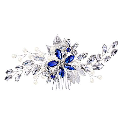 EVER FAITH Damen Haarkamm Kristall Simulierte Perle Hochzeit Braut Filigrane DIY Blume Blatt Haar Schmuck Blau Silber-Ton