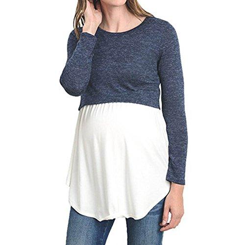 juqilu Patchwork Moda Manga Larga Camisa de Lactancia Nursing Top Casual Maternidad Ropa Azul + Blanco XL