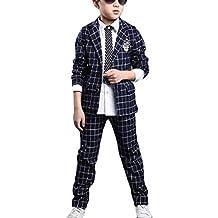 LaoZanA Completo dei Ragazzi del Cerimonia Vestito Formali Blazer + Pantaloni  2 Pezzi Completino Elegante Marina 85be18dca56