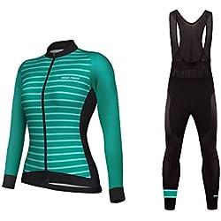 BurningBikewear Uglyfrog Nova Jersey + bib set Ciclismo, Mulheres, Manga comprida, de lã térmica, Inverno, confortável Quick Dry, bolsos 3, várias cores CXWX02